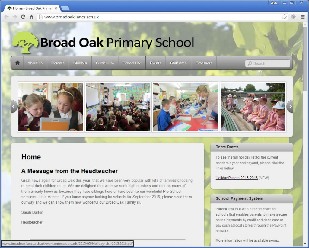 Broad Oak Primary School website