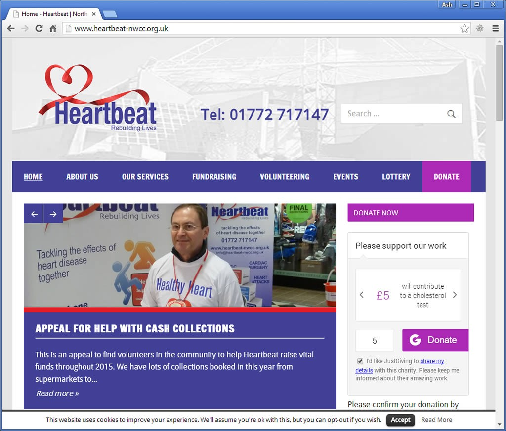 Heartbeat Cardiac Rehabilitation Charity website