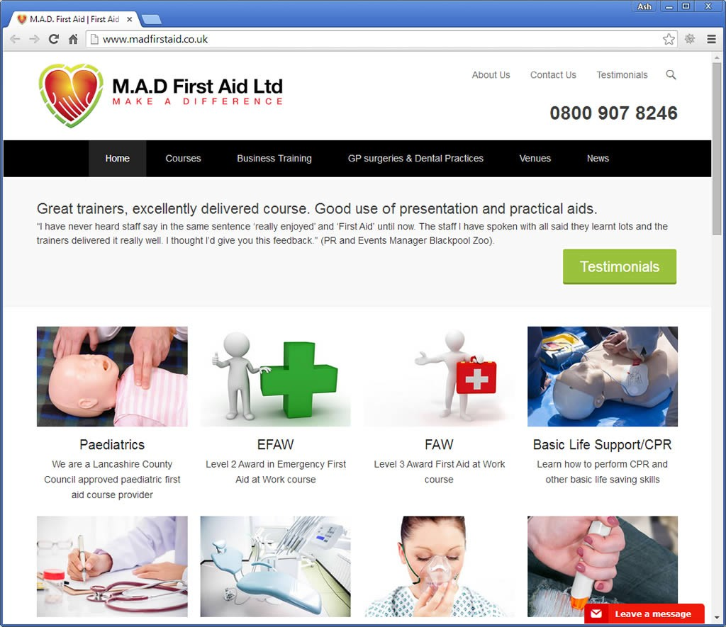 MAD First Aid Limited website